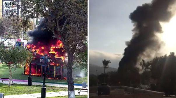 chorrillos:-un-incendio-afecto-area-de-juegos-en-el-parque-fatima
