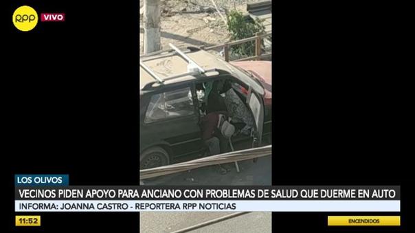 los-olivos:-vecinos-piden-ayuda-para-hombre-que-duerme-en-un-automovil-abandonado-[video]